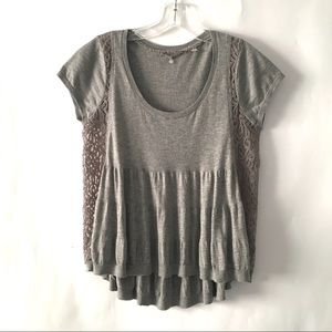 Anthropologie Knitted & Knotted Lace Sweater Top